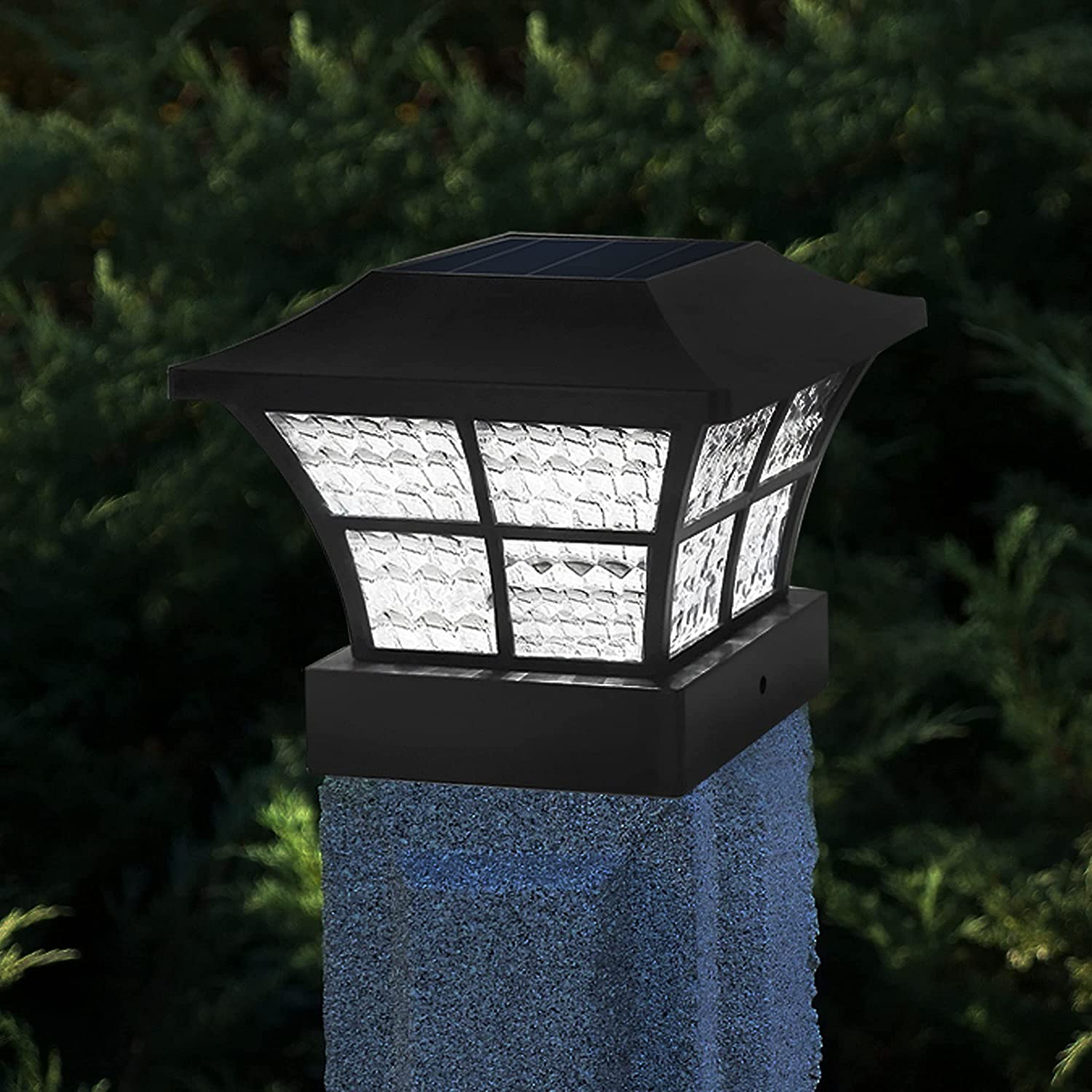2PK Fence Post Solar Lights Outdoor 3.5x3.5 4x4 inch Classic Square Deck Cap LED Lamp Wooden Posts Waterproof for Landscape, Pathway, Patio, Front Door Decoration (Black- Cool White)
