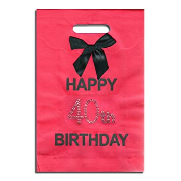 40th Big Birthday Happy Hot Pink Gift Bag With Diamantes