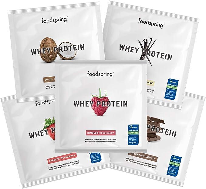 foodspring Muestras de Proteína Whey, Sabores distintos, 5 x ...