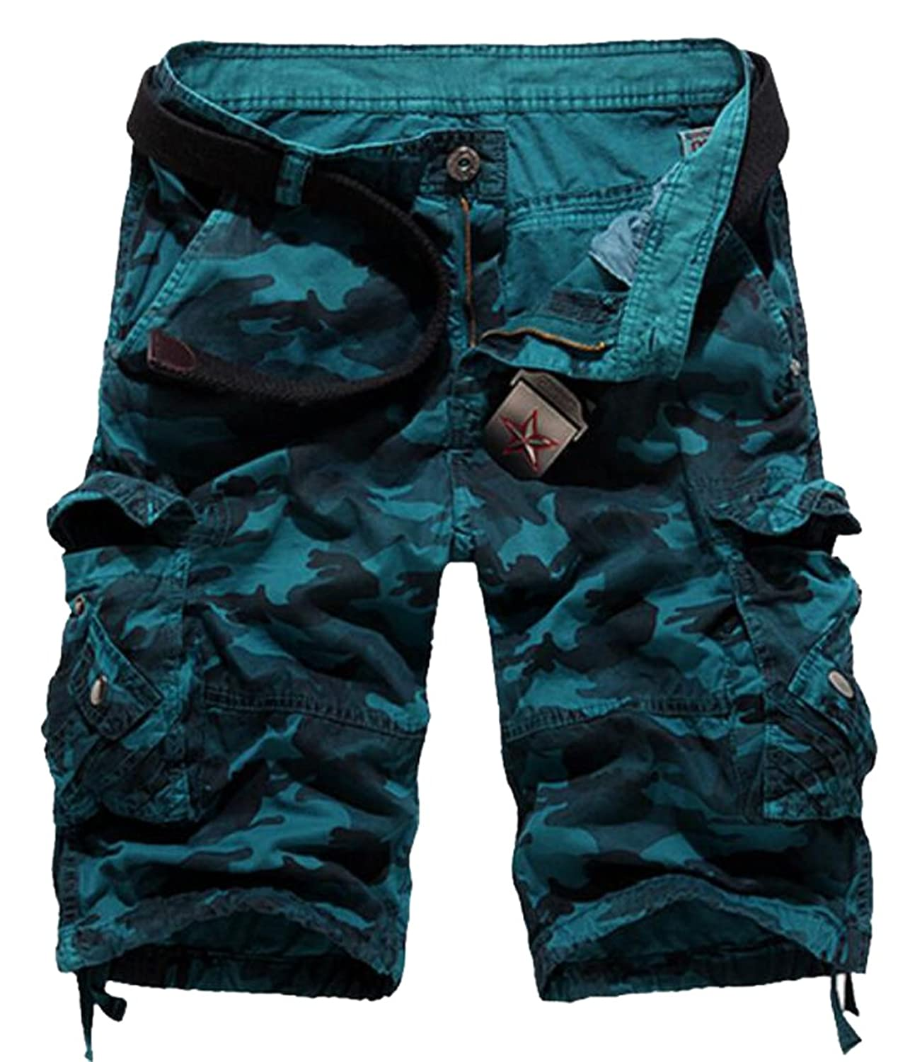 best website 1be6c a8704 XQS Mens Casual Loose Camouflage Fit Multi Pocket Cargo Shorts 30%OFF