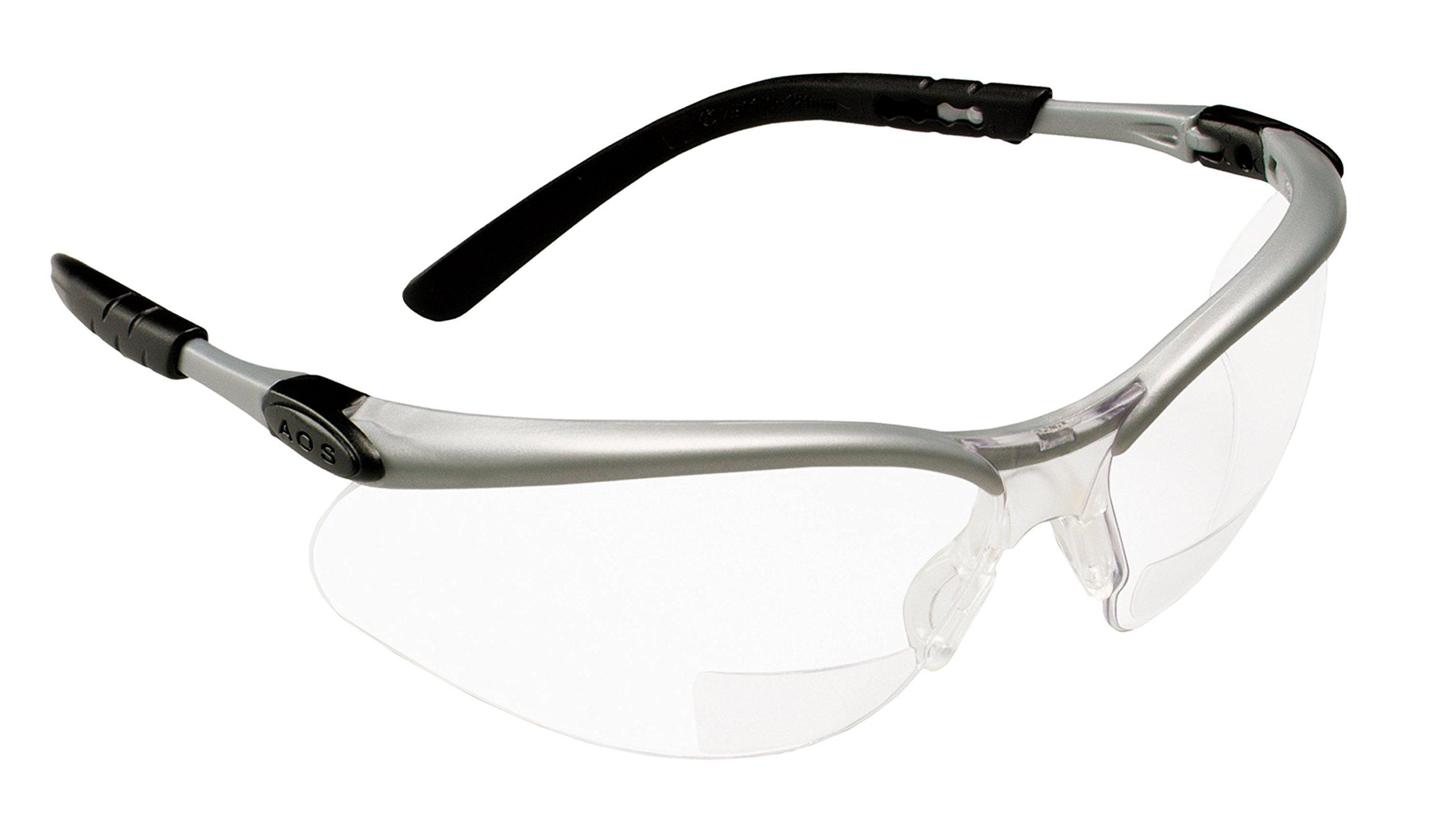 3M Reader +2.5 Diopter Safety Glasses, Silver/Black Frame, Clear Lens