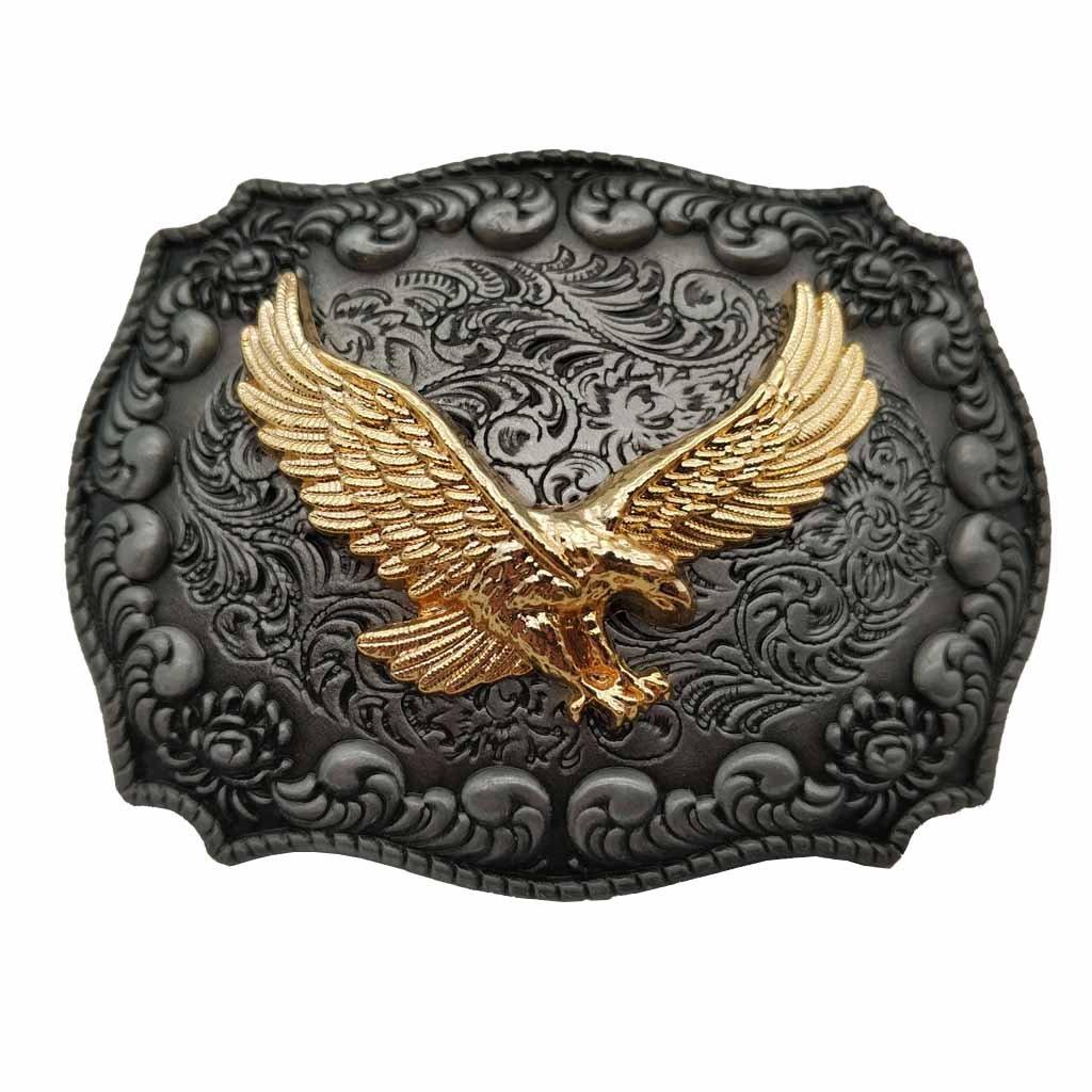YONE Fibbia per Cinture Golden Eagle Western Belt Buckle