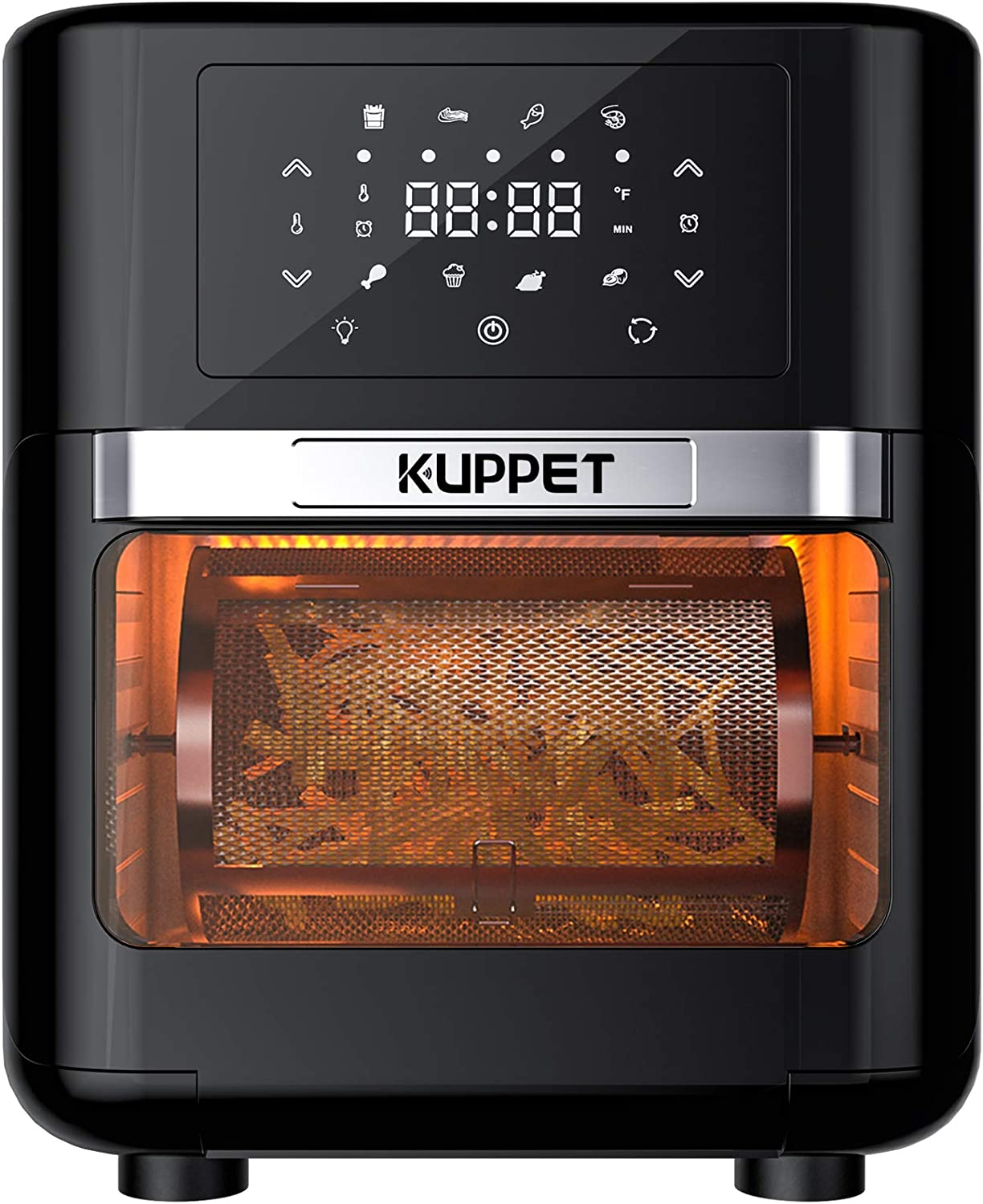 KUPPET Air Fryer Oven, 10.7 Quarts Air Fryer, Rotisserie Oven, 8-in-1 Countertop Oven with Dehydrator & Rotisserie, 1700W Electric Air Fryer with LED Digital Touchscreen, 6 Accessories, ETL Listed