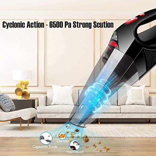 epzoee Handheld Vacuum Cordless,6KPA High Power Rechargeable Cordless Car Vacuum with LED Light Lightweight Portable Wet Dry Hand Vacuum for Home Pet Hair and Car Cleaning,Grey