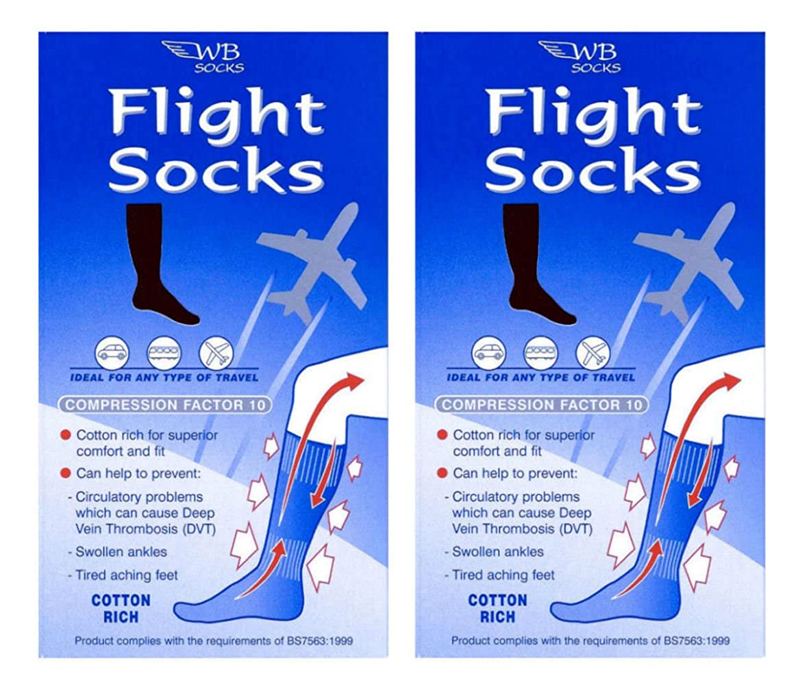 2 Pairs of Cotton Rich Anti-DVT FLIGHT socks Size 6-9 BLACK W Brewin