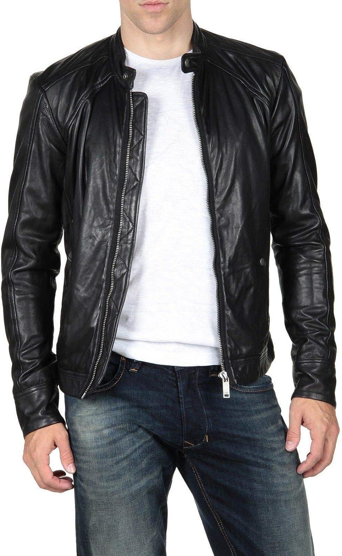 Woojo Mens Leather Biker Jacket WJ082
