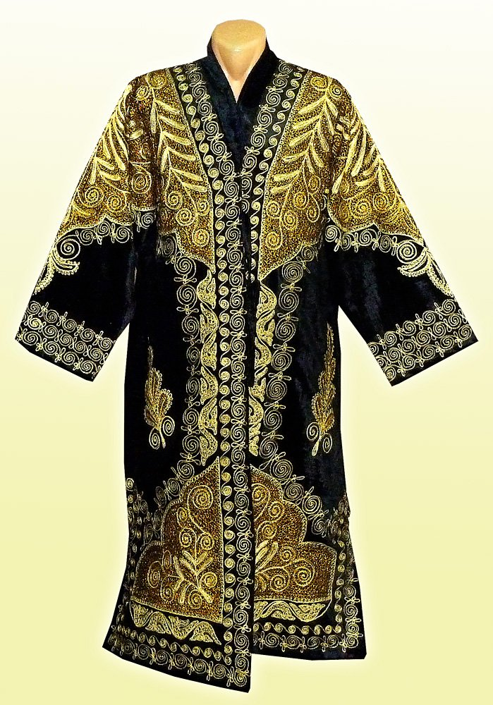STUNNING UZBEK GOLD SILK EMBROIDERED ROBE CHAPAN FROM BUKHARA A7571 by East treasures