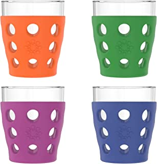 product image for Lifefactory 10-Ounce BPA-Free Indoor/Outdoor Protective Silicone Sleeve Beverage Glass, 4-Pack, Orange, Grass Green, Cobalt, Huckleberry