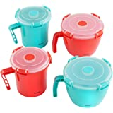 VonShef 4 Piece Microwave Cookware Soup Cup / Mug / Noodle Bowl Container Set with Lids - BPA-Free