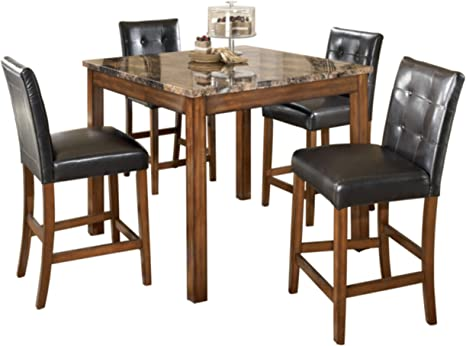 Amazon Com Signature Design By Ashley Theo Counter Height Dining Room Table And Bar Stools Set Of 5 Warm Brown Furniture Decor