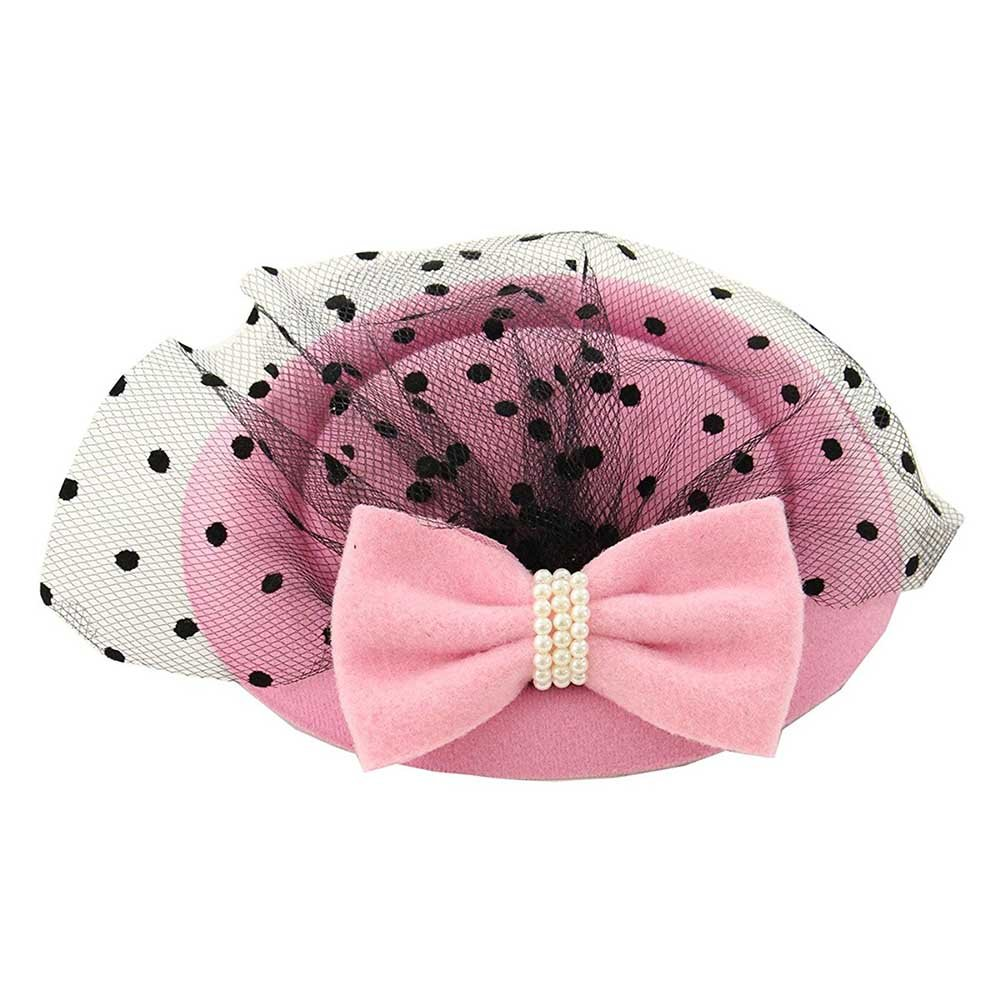 Song Women's Fascinators Hat Pillbox Hat Cocktail Party Hat with Veil Hair Clip Pink