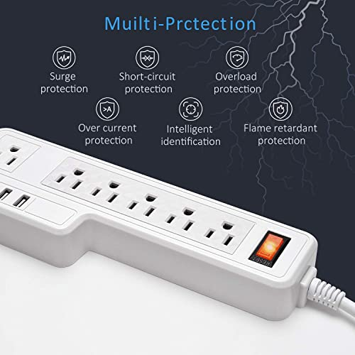 Mountable Surge Protector Power Strip JACKYLED 9.8ft 6 Outlets 4 USB Ports Electric Power Outlet with Right Angle Flat Plug Electric Long Extension Cord Power Charging Station for Home Office White
