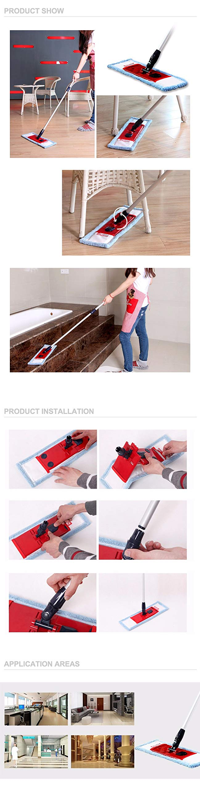 QIANLAI East Flat Telescopic mop with Pole Microfiber Cloth Towel Home Floor Cleaning Kitchen Living Room Flat mop Cleaning Tools