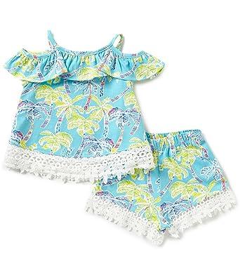 13148997a5d31 Amazon.com: Rare Editions Girls Hawaiian Palm Tree Beach Shorts Set ...