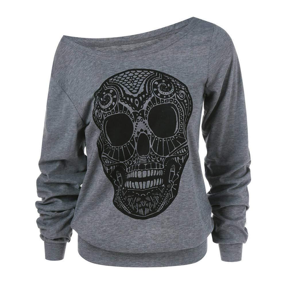 Luckycat Las Mujeres de Moda del cráneo de Halloween Imprimen el Cuello Oblicuo más la Blusa de la Camiseta del tamaño