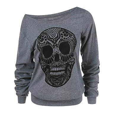 Luckycat Las Mujeres de Moda del cráneo de Halloween Imprimen el Cuello Oblicuo más la Blusa de la Camiseta del tamaño: Amazon.es: Ropa y accesorios