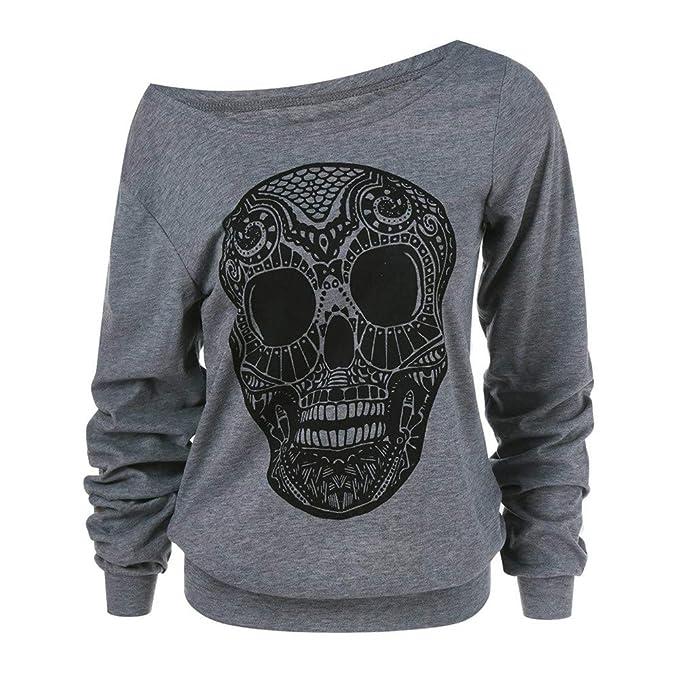 Luckycat Las Mujeres de Moda del cráneo de Halloween Imprimen el Cuello Oblicuo más la Blusa