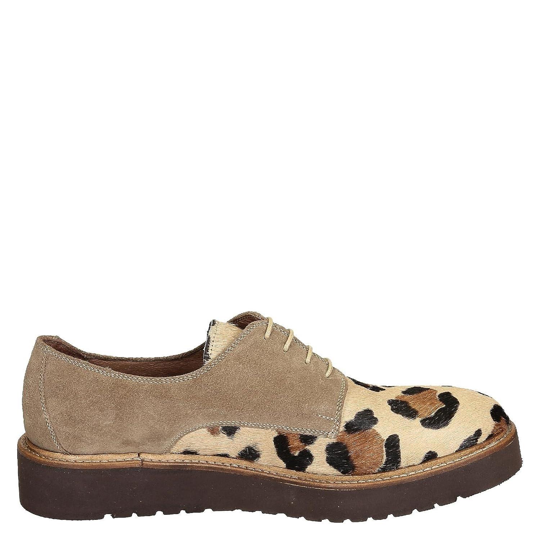 Leonardo Shoes Mujer 84069PECAVALLINOMB Marrón Gamuza Zapatos De Cordones 39 IT - Tamaño de la Marca 39