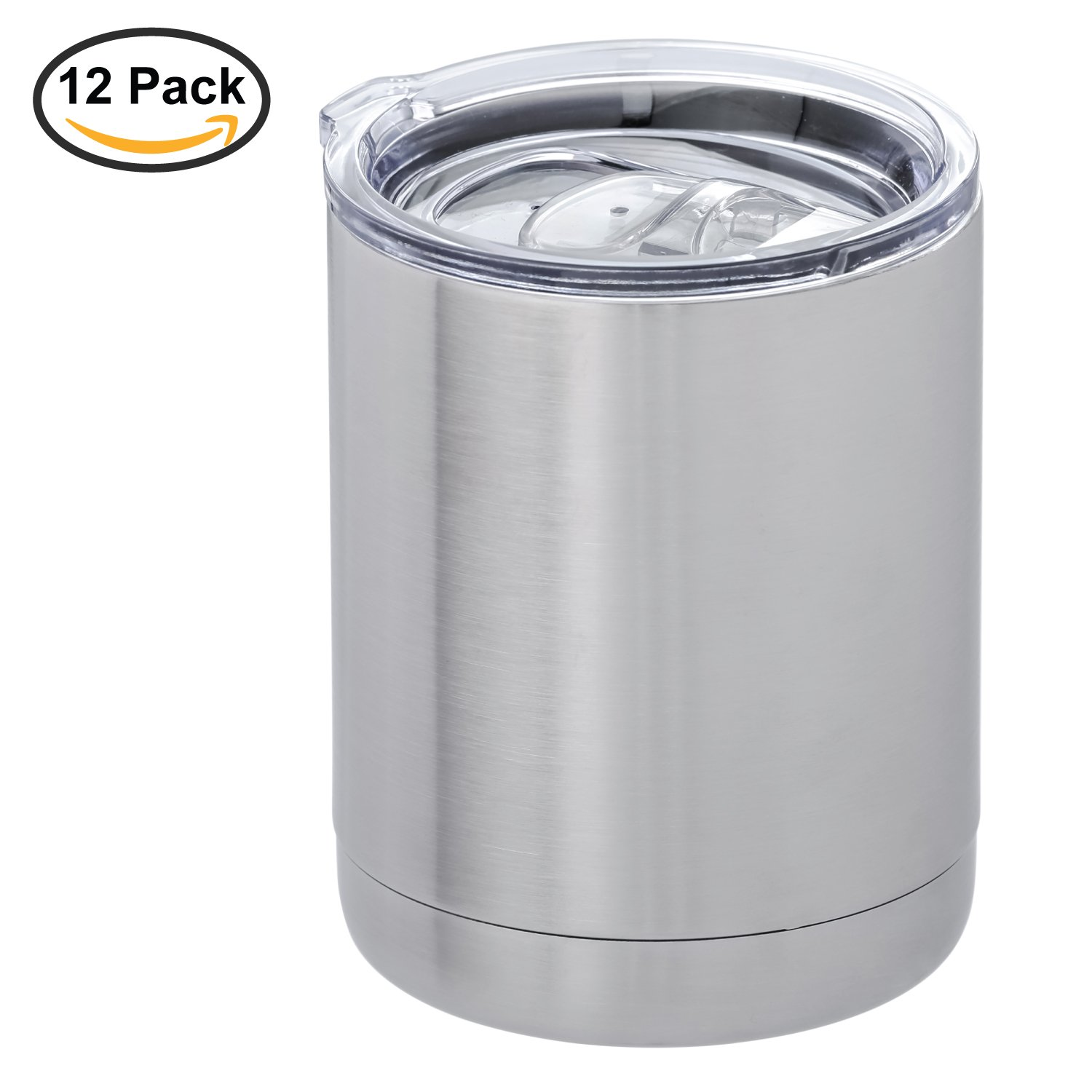 Thirsty Rhino Gambil, 10 oz Stainless Steel Lowball Tumbler with Lid, Double Wall Vacuum Insulated, Silver (Set of 12)