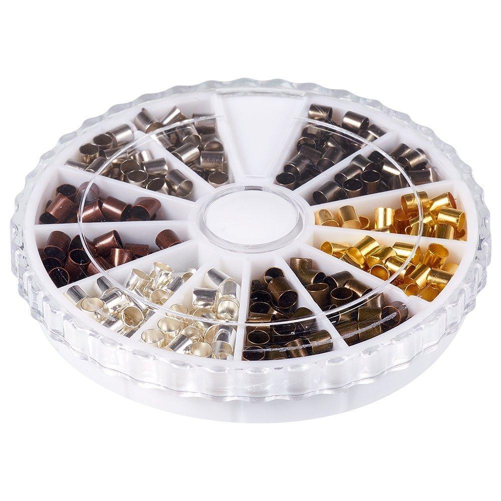Gemischte Metallfarben 420 St/¨/¹ck // Kasten Bohrung: 2~2.5 mm; ca Cadmiumfrei /& Bleifrei und Nickelfrei 3x3 mm Messing Quetschperlen Metallperlen