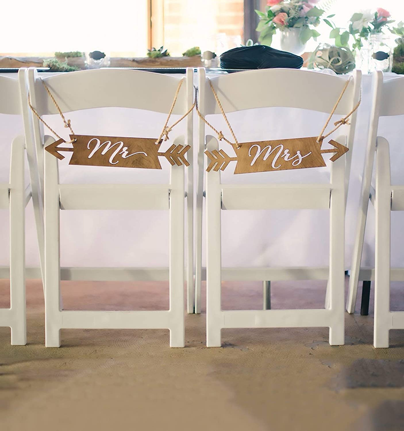 Mr /& Mrs Wedding Chair Signs Blue /& Gold  Hanging Signs for the Bride /& Groom