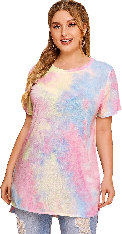 Milumia Women's Plus Size Tie Dye T Shirt Short Sleeve Casual Round Neck Tee Tops