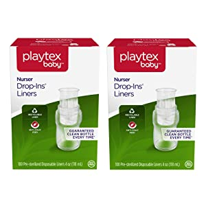 Playtex Baby Nurser Pre-Sterilized Disposable Bottle Liners, Closer to Breastfeeding, 4 oz, 200 Count