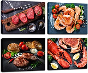 Biuteawal - Delicious Food Canvas Prints Kitchen Wall Art Decor Steak Shrimp Cooking Picture Print on Canvas 4 Piece Modern Artwork for Home Dining Room Decoration Ready to Hang