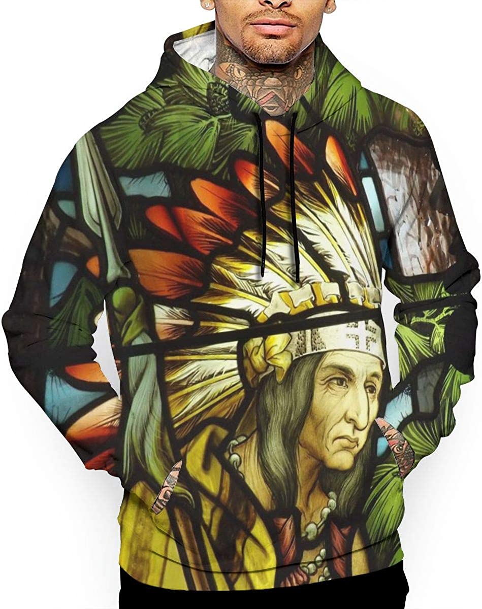 Stained Glass Art Native American Indian Mens Front Pouch Pocket Pullover Hoodie Sweatshirt Long Sleeves Pullover Tops