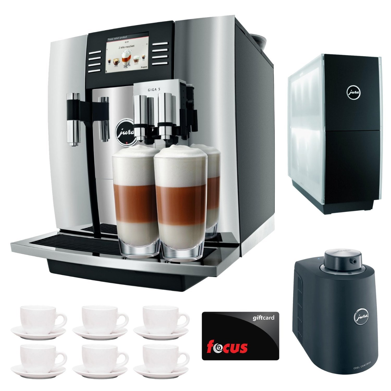 Jura Giga 5 Cappuccino & Latte Macchiato System + $50 aSavings Gift Card + Jura Cup Warmer Black Stainless Steel and Jura Cool Control Milk Cooler + Accessory Kit … (Black) (Aluminum)