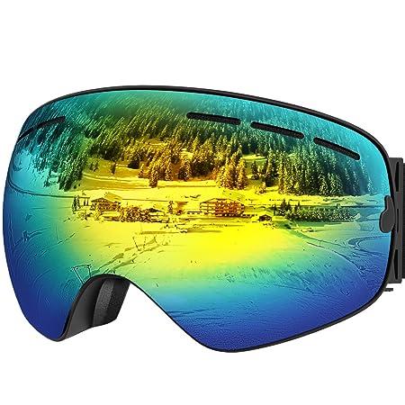 UShake Ski Goggles, Snow Goggles, Snowboard Goggles with Matte Anti-Fog Anti-Scratch 100 UV Protection Lens TPU Frame