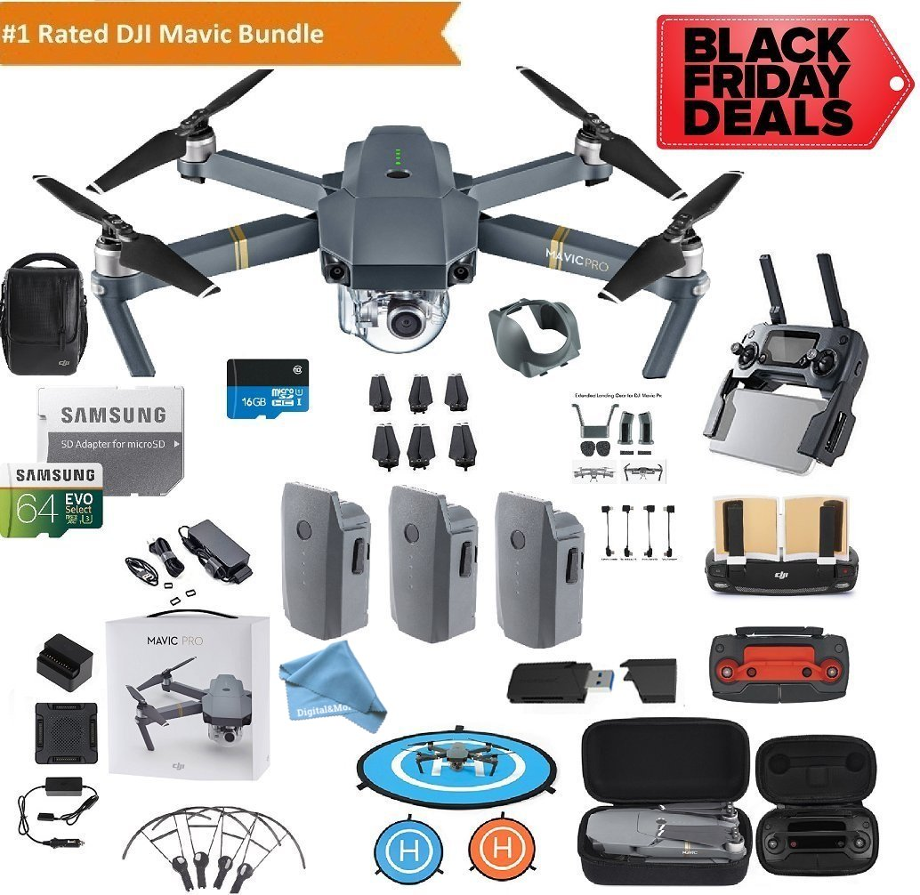 DJI Mavic Pro Drone Quadcopter Fly More Combo with 3 Batteries, 4K Professional Camera Gimbal Bundle Kit with DJI Bag, 64GB SD Card, Range Extender,Landing Pad, (Black Friday / Cyber Monday Deal!)