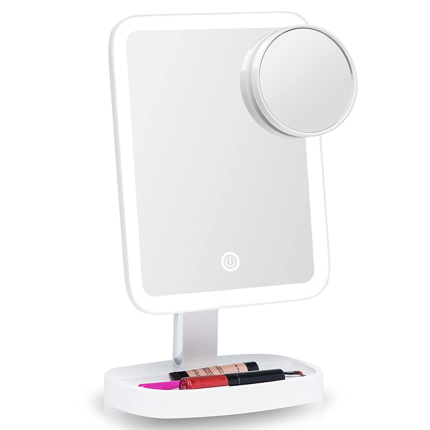 Fancii LED Makeup Vanity Mirror with 3 Light Settings and 15x Magnifying Mirror - Choose between Soft Warm, Natural Daylight, or Neutral White Lights - Dimmable Countertop Cosmetic Mirror FC-VTCM115X