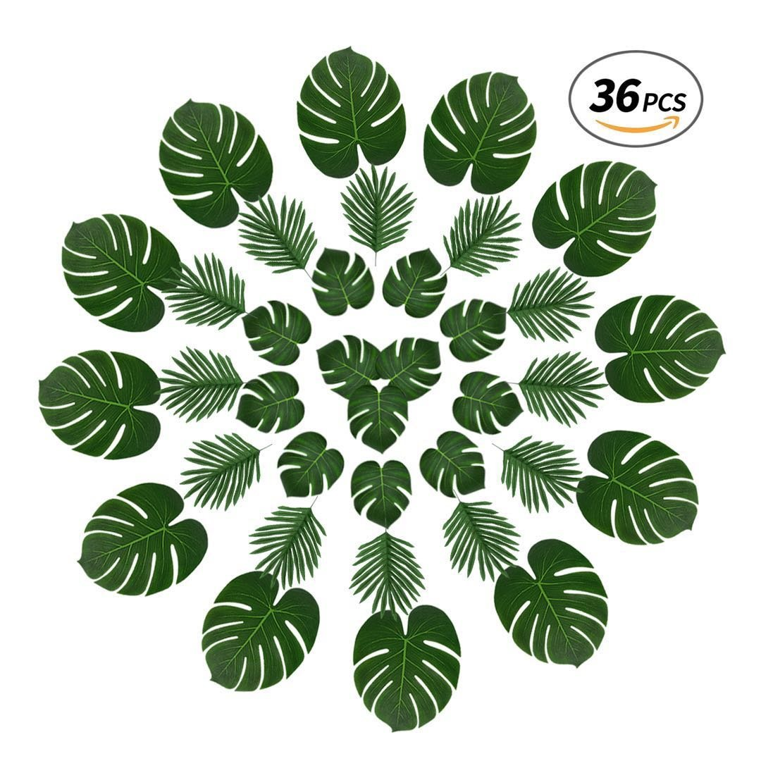 Tropical Palm Leaves and Butterfly Palm,36 Pcs Reusable Fake Leaves with Variety of Sizes for Jungle Themed Party,Havana Nights,Baby Shower Decor,Luau Table Decor (Green1)