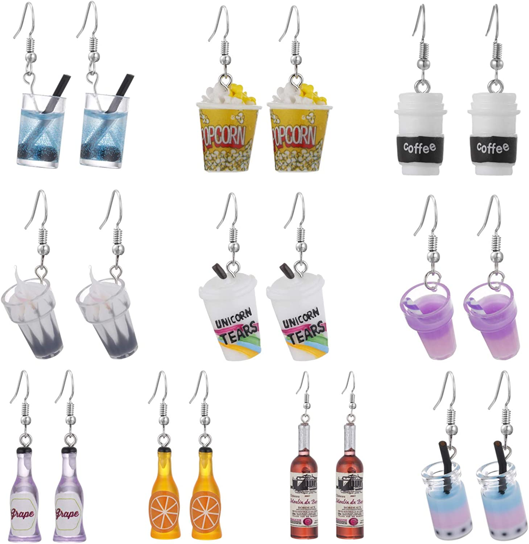 10 Pairs Mixed Resin Earrings Set, Acrylic Clay Animal Fruit Vegetable Cake Drink Bottle Dangle Drop Ear Jewelry for Teen Girls Kids, Funny Creative Statement Hoop Earrings