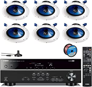 Yamaha 500 Watts Digital Home Theater Audio Video Receiver + Yamaha In-Ceiling 2-Way Moisture Resistant Speakers (set of 6) + 100 ft 16 Gauge Speaker Wire