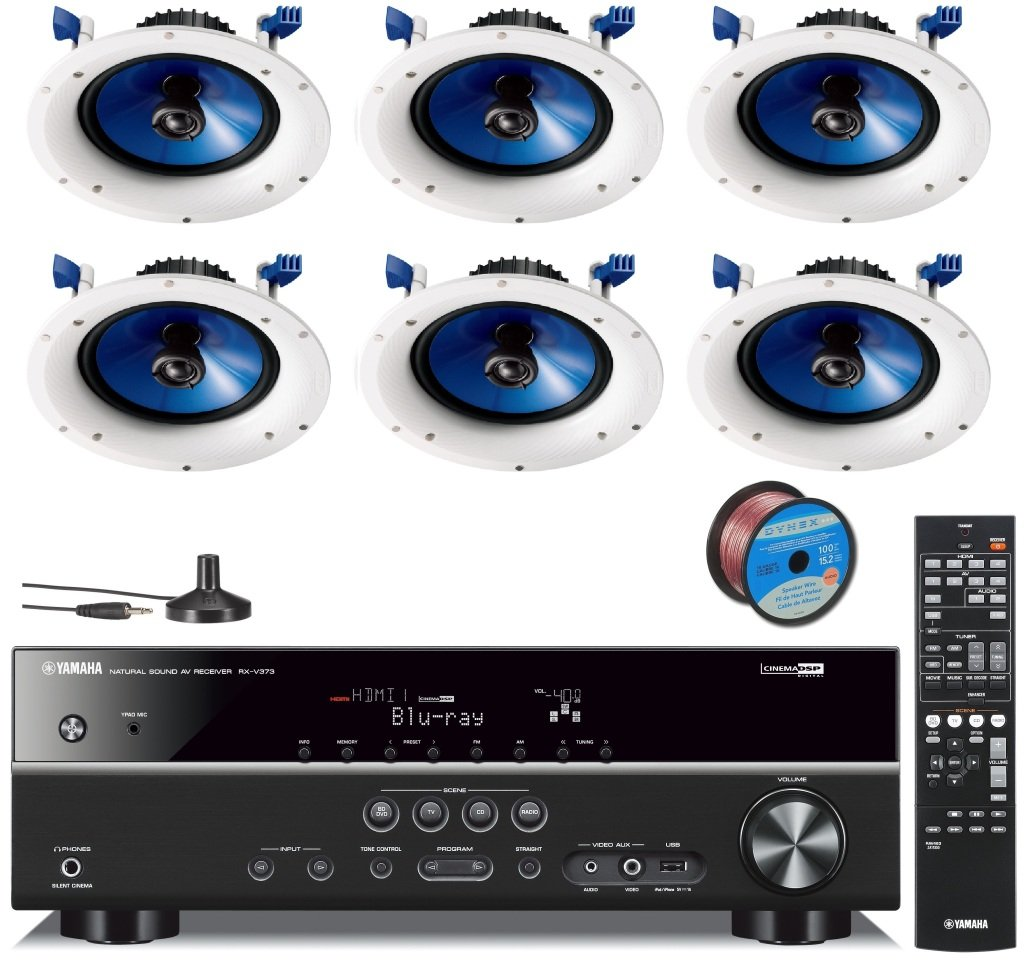 Yamaha 3D-Ready 5.1-Channel 500 Watts Digital Home Theater Audio Video Receiver with 4K pass-through, HD Audio Decoding, CINEMA DSP, Adaptive Dynamic Range Control, 40-Station Preset Tuning, Sleep Timer, Compressed Music Enhancer & USB Digital Port to Con