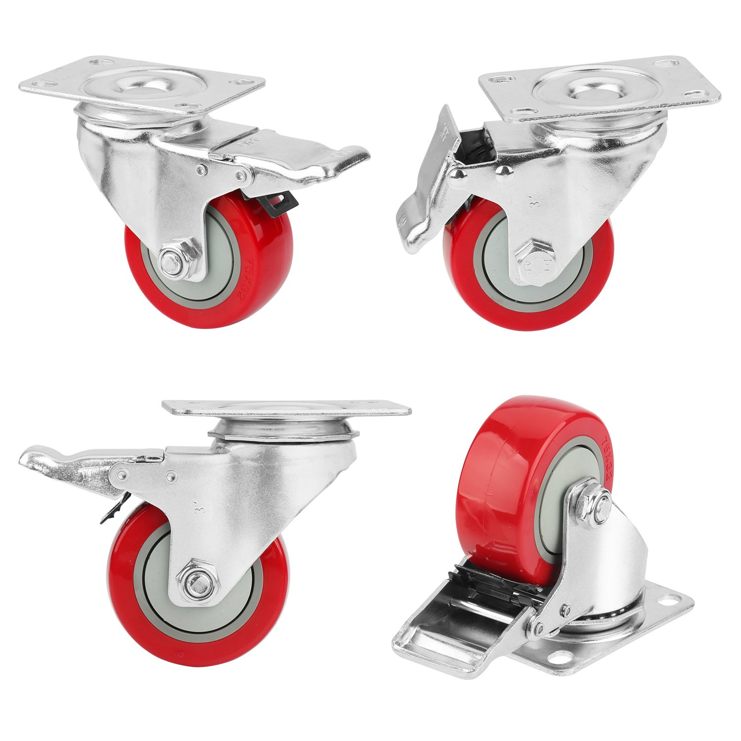 3'' Caster Wheels, PRITEK Heavy Duty Plate Casters with 360° Swivel and Lockable Top Plate No Noise Rubber Base Ball Fit for Furniture Industrial Table Cabinet Shelves (bearing 200lb each, set of 4)