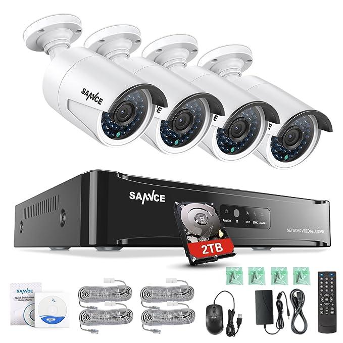 SANNCE Kit de 4 Cámaras de Vigilancia Seguridad (Onvif H.264 CCTV NVR P2P 4CH 1080P y 4 Cámaras 2MP IP66 Impermeable IR LEDs Visión Nocturna Hasta 20M, ...