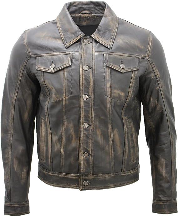 Infinity Leather Camisa de Cuero Negra Ocasionales del Camionero de los Hombres Chaqueta de los Pantalones Vaqueros de la Vendimia: Amazon.es: Ropa y accesorios