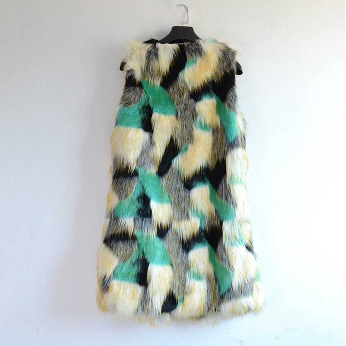JTENGYAO Womens Faux Fur Sleeveless Coat Fur Vest Winter Parka Coat Sleeveless Jacket