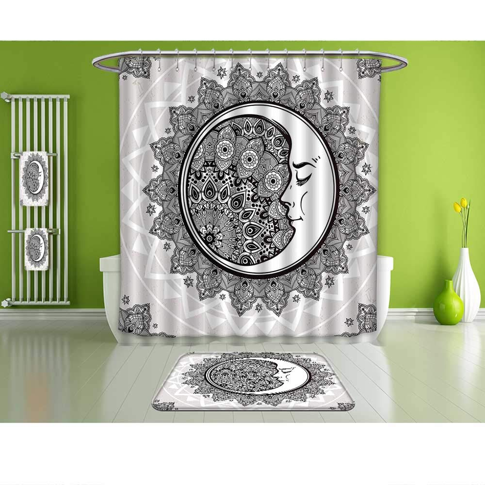 Intelligent Mystic House Decor Shower Curtain Ornate Crescent Moon With Stars And Mandala Asian Eastern Spiritual Graphic Bathroom Home & Garden