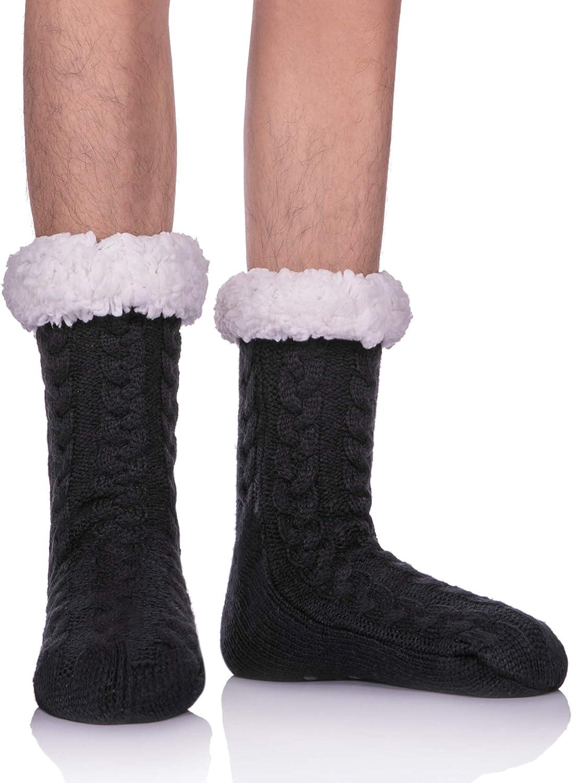 LANLEO Mens Fuzzy Slipper Socks Winter
