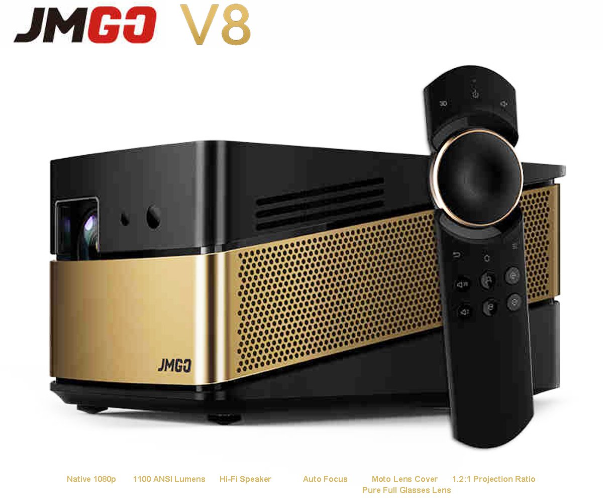 Home Theater Projector, JmGO V8 Native 1080p Projector Android Smart Projector Built-in HIFI Speaker with LiveTV.Direct Enhanced Software Services