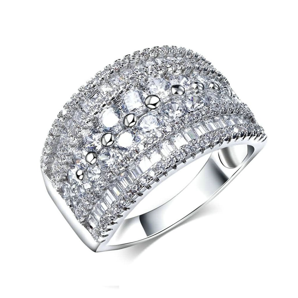 Daesar Womens Promise Rings Stainless Steel Silver Cubic Zirconia Wide Band Size 9 by Daesar