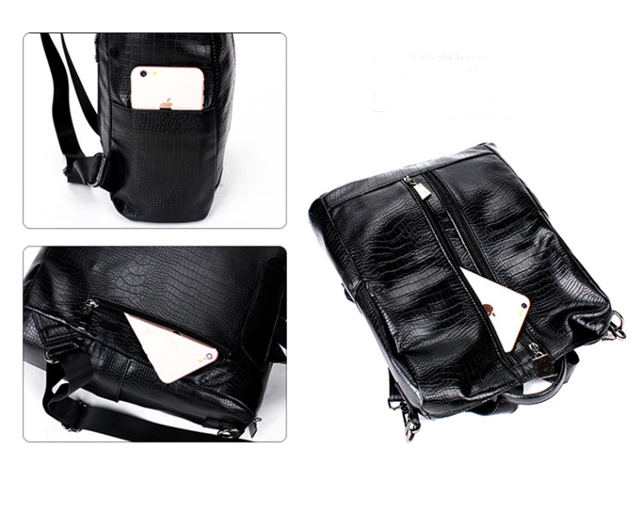 Fashion Backpack for Women Rucksack PU Leather Black Shoulder Bags Purses for Ladies Tote Bags by Goldsuntop (Image #6)