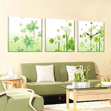 Maivasyy Pintura decorativa pintura Triple Reloj de pared sin cerco ...