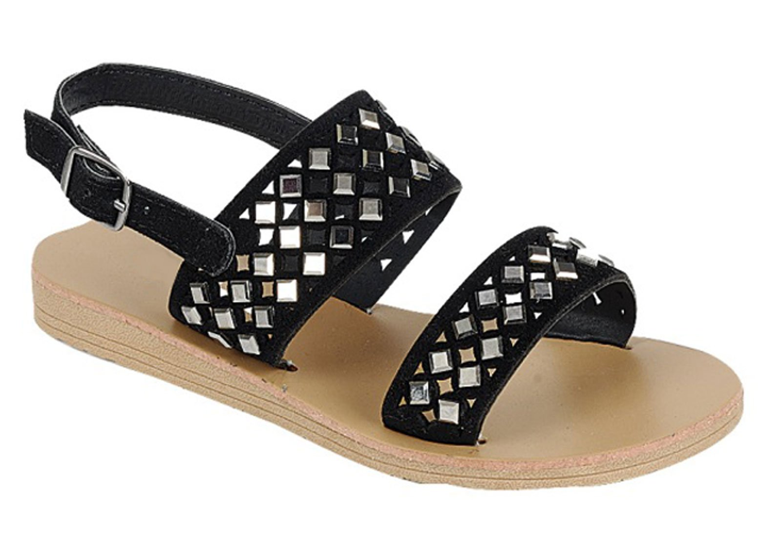 Clearance Sale Top Kali Black Strappy Flat Heel Summer Sandal Sparkle Comfortable Embellished Ankle Strap with Buckle Summer Fashion Prime Colorful Beach Slip On for Little Girl Kid (Size 11, Black)