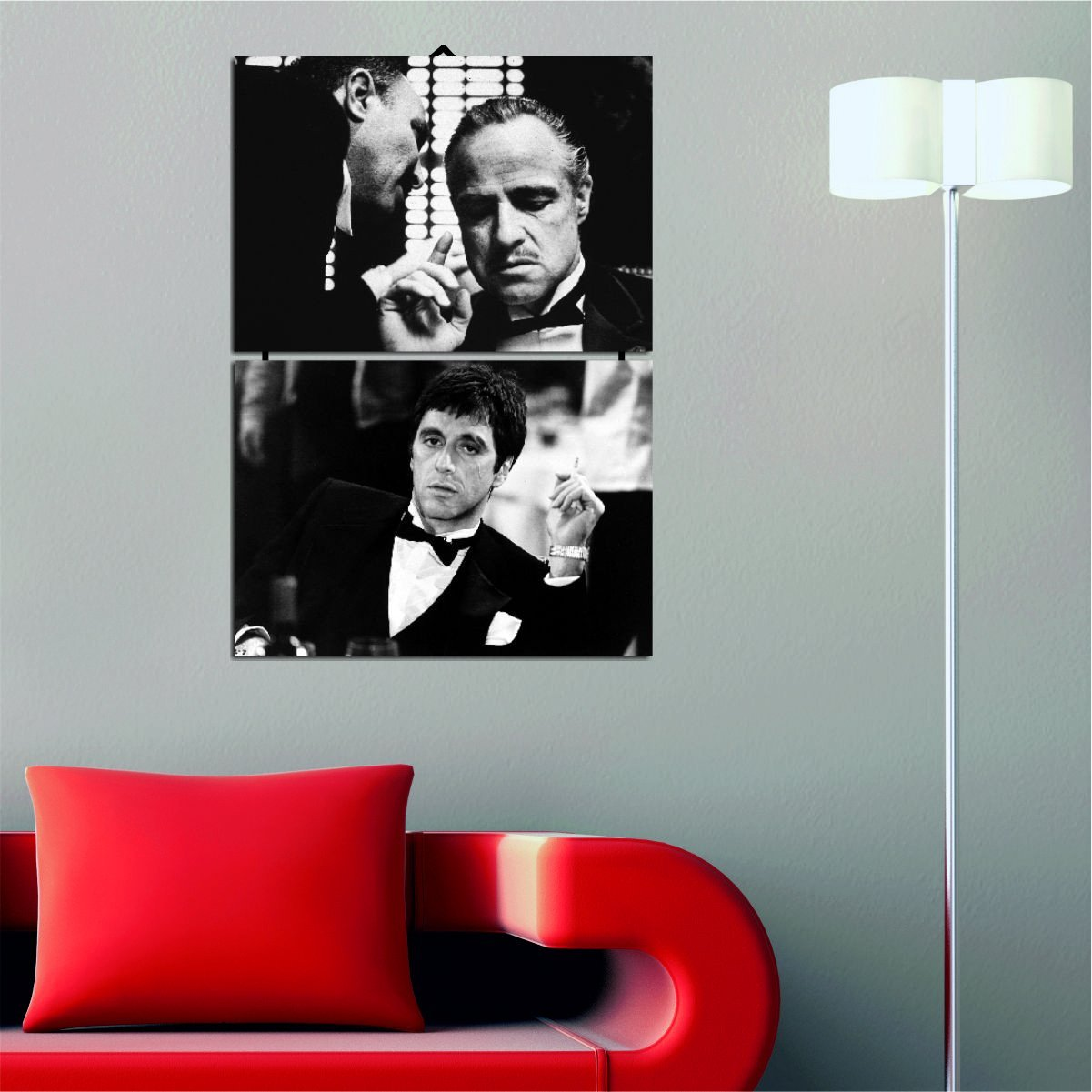 Movies MDF Wall Art - Godfather and Scarface, Mafia, Black and White, Actor - Ready to Hang Painting, Total Size (14'' x 20'') - 2 Panels with Rope Connection - Wall Hanging for Living Room, Bedroom