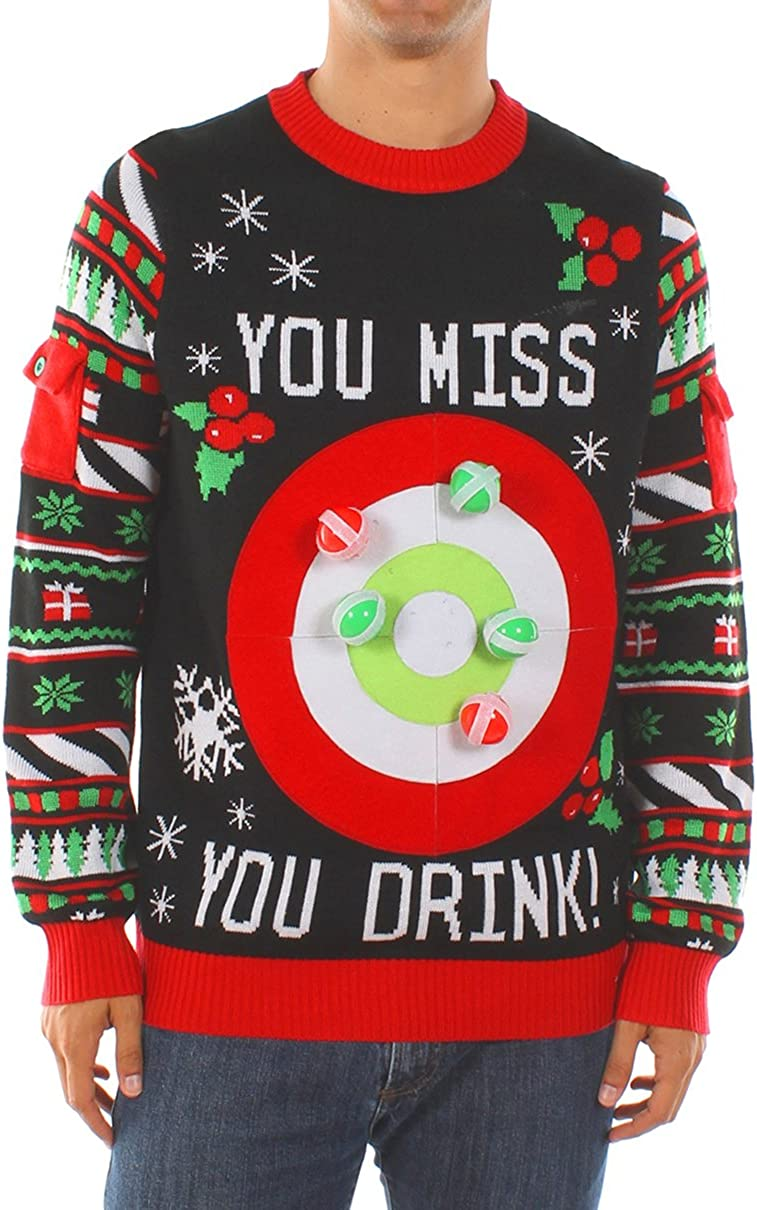 Tipsy Elves Men\'s Drinking Game Ugly Christmas Sweater - Funny Christmas  Sweater